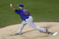 Chicago Cubs starting pitcher Jon Lester delivers during the third inning of a baseball game against the New York Mets, Thursday, Aug. 29, 2019, in New York. (AP Photo/Kathy Willens)