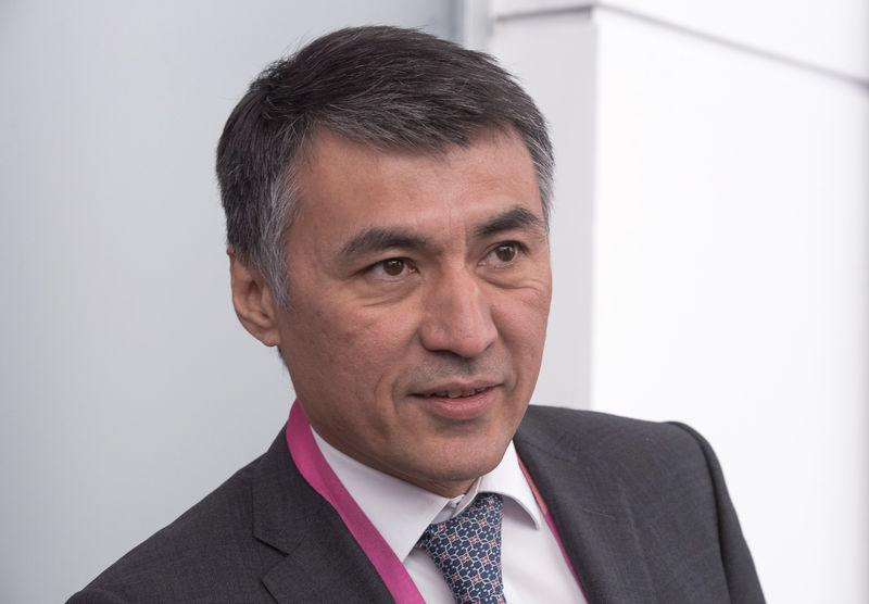 Kazakh Deputy Energy and Mineral Resources Minister Magaulov speaks during an interview in Nur-Sultan