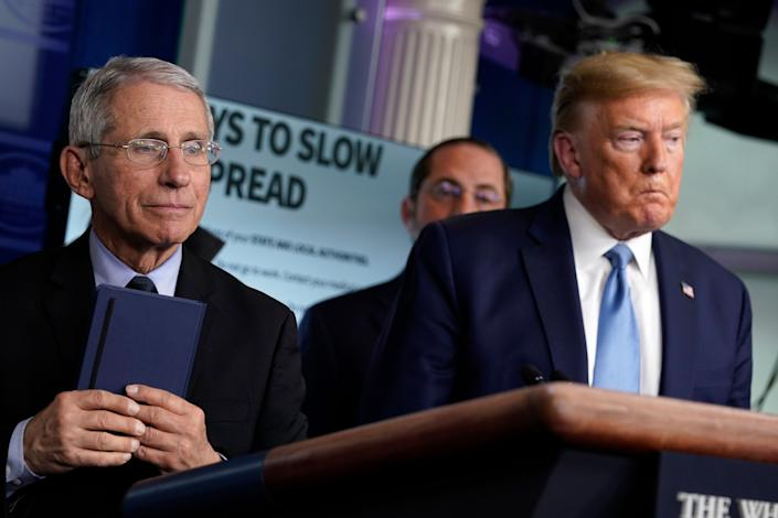 Dr. Anthony Fauci, left, and President Donald Trump at a White House press briefing with the coronavirus task force. (Photo: ASSOCIATED PRESS)