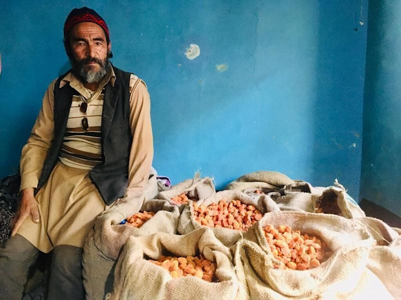 Ahmed Hussain, a 61 year old apricot farmer from Kargil's Hardass village with his unsold dried apricots. (Photo: Betwa Sharma)