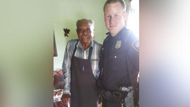 PHOTO: Officer Christopher Weir, 31 and Julius Hatley, 95, are seen here on June 8, 2017, after the Forth Worth Police Department answered a call from Hatley who dialed 9-1-1 when his air conditioning broke inside his home. (Jennifer and Christopher Weir )