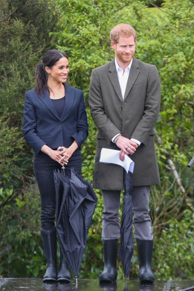 <p>On October 30, the Duchess wore the aptly-named 'Reign' Muck Boots with £255 blazer by Karen Walker for the unveiling of the Queen's Commonwealth Canopy in Redvale, New Zealand. <em>[Photo: Getty]</em> </p>