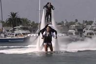 "<div class=""caption-credit""> Photo by: USA Today</div><div class=""caption-title"">2. On Jet Packs</div>Talk about making a grand entrance! After planning dozens of weddings as a planner, Amanda Volf knew she wanted to do something truly unique for her own nuptials. That's why she and her groom, Grant Engler, <a href=""http://www.bridalguide.com/blogs/bridal-buzz/jet-pack-wedding"" rel=""nofollow noopener"" target=""_blank"" data-ylk=""slk:rented $90,000 water-powered jet packs"" class=""link rapid-noclick-resp""><b>rented $90,000 water-powered jet packs</b></a> to fly into their Newport Beach wedding."