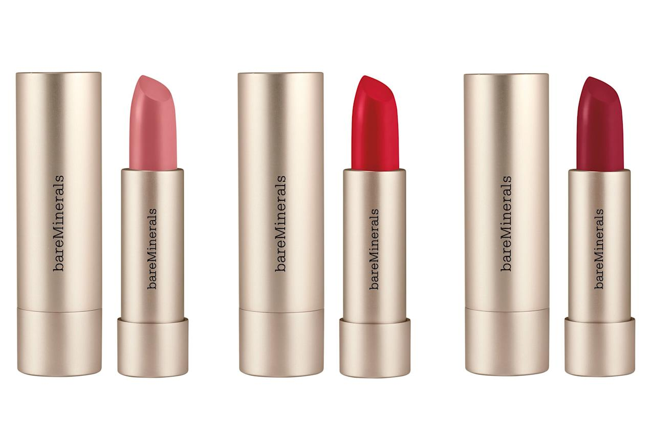 """We love these pigment-packed bullets for what's<em>not</em> in them: the super-clean formula is made with just 19 good-for-you ingredients which is 40 percent less than the traditional lipstick.  <strong>Buy It!</strong><a href=""""https://click.linksynergy.com/deeplink?id=93xLBvPhAeE&mid=2417&murl=https%3A%2F%2Fwww.sephora.com%2Fproduct%2Fbareminerals-mineralist-hydra-smoothing-lipstick-P455324&u1=PEO%2CTheBestBeautyLaunchesof2020%2Ckaitlynfrey%2CUnc%2CGal%2C7547600%2C202002%2CI"""" target=""""_blank"""" rel=""""nofollow"""">Bareminerals Mineralist Hydra-Smoothing Lipstick, $20; sephora.com</a>"""