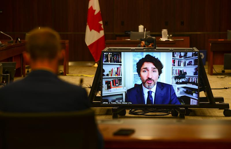 Prime Minister Justin Trudeau appears as a witness via videoconference during a House of Commons finance committee on July 30, 2020. (Photo: Sean Kilpatrick/CP)
