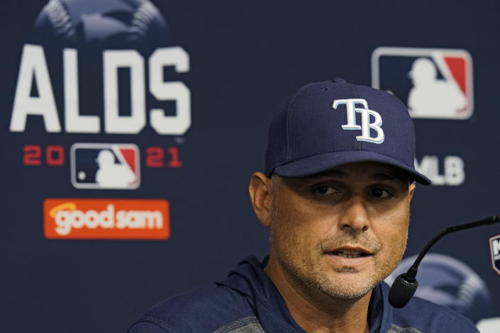 Tampa Bay Rays manager Kevin Cash answers a question during a news conference before an American League Division Series baseball practice Wednesday, Oct. 6, 2021, in St. Petersburg, Fla. The Rays play the Boston Red Sox in the bet-of-five series. (AP Photo/Chris O'Meara)