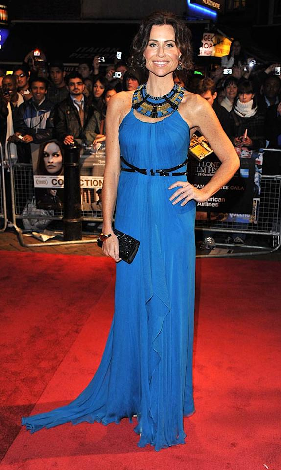 """Also opting for a bold color this week ... Minnie Driver, who successfully donned a bright blue Marchesa gown, which featured an embellished neckline and short train, at """"Conviction's"""" U.K. debut. Jon Furniss/<a href=""""http://www.wireimage.com"""" target=""""new"""">WireImage.com</a> - October 15, 2010"""