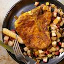 "<p>In this healthy oven-baked pork chop recipe, roasted apples and leeks lend a sweet-and-tart note. If you always chop the dark green tops off your leeks, don't discard them this time--they have a delicious flavor and become meltingly tender when roasted. <a href=""http://www.eatingwell.com/recipe/253044/curried-pork-chops-with-roasted-apples-leeks/"" rel=""nofollow noopener"" target=""_blank"" data-ylk=""slk:View recipe"" class=""link rapid-noclick-resp""> View recipe </a></p>"