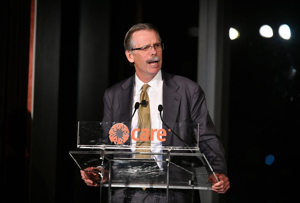 NEW YORK, NY - NOVEMBER 14: Chairman of North Island, Co-Founder of Silver Lake and CARE Impact Award for Accelerator of Innovation Honoree Glenn Hutchins speaks on stage during the inaugural CARE Impact Awards Dinner at Mandarin Oriental New York on November 14, 2018 in New York City.  (Photo by Bryan Bedder/Getty Images for CARE)
