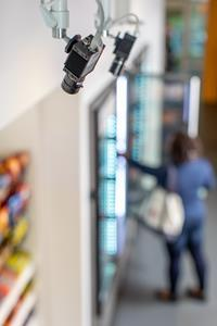 Nearly one-third of survey respondents said that checkout-free technology, such as Standard's camera-based system pictured here, would make them more likely to shop in physical stores this holiday season. Checkout-free tech lets shoppers walk into a store, get what they need, and leave without having to wait in line or scan anything.
