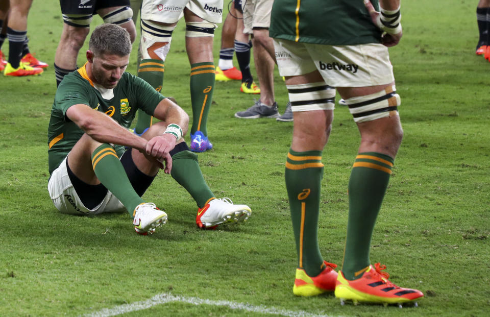 South Africa's Willie le Roux reacts following the Rugby Championship test match between the Springboks and the All Blacks in Townsville, Australia, Saturday, Sept. 25, 2021. (AP Photo/Tertius Pickard)