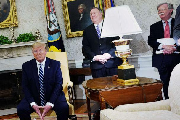 PHOTO: President Donald Trump, Secretary of State Mike Pompeo, and National Security Advisor John Bolton participate in a bilateral meeting with Canada's Prime Minister Justin Trudeau in the Oval Office, June 20, 2019. (Mandel Ngan/AFP/Getty Images,FILE)