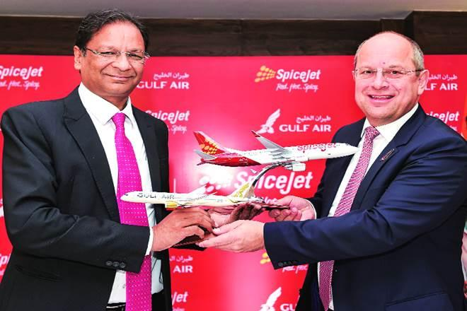 SpiceJet CMD Ajay Singh (left) and Gulf Air CEO Kresimir Kucko at a function to sign an MoU between the airlines, in New Delhi on Wednesday (Image: PTI)