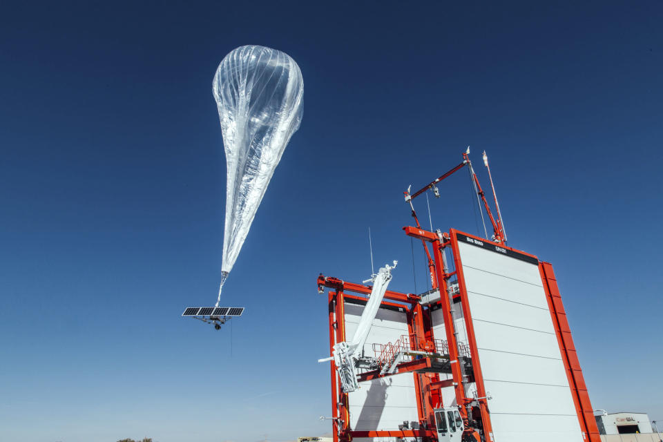 FILE - This Wednesday, Oct. 18, 2017, file photo provided by Project Loon shows a stratospheric balloon taking off for Puerto Rico from a project site in Winnemucca, Nev. For years, Alphabet, the parent company of Google, worked to perfect an internet-balloon division service called Loon. It shut down that project in January 2021, saying it wasn't commercially viable. Florida Gov. Ron DeSantis has called on the administration of President Joe Biden to greenlight a plan to transmit the internet to people in Cuba via high-altitude balloons when their government has blocked access. (Project Loon via AP, File)