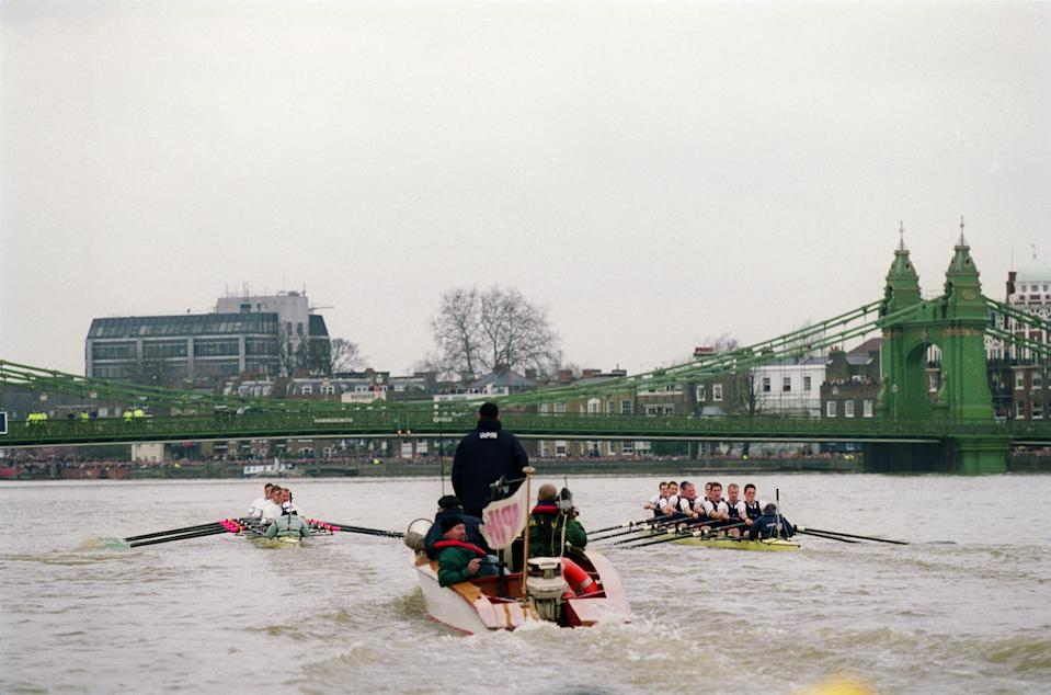 24 Mar 2001:  Umpire Rupert Obholzer follows the two crews during the 147th University Boat Race between Cambridge and Oxford held on the River Thames, in London. Cambridge won the race. \ Mandatory Credit: Gary M Prior/Allsport