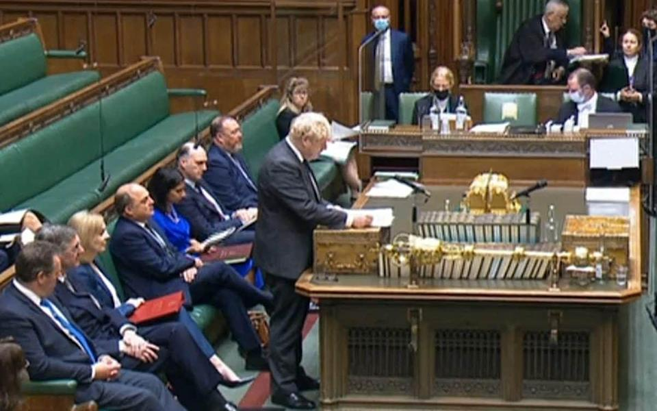 Boris Johnson and the frontbench - AFP