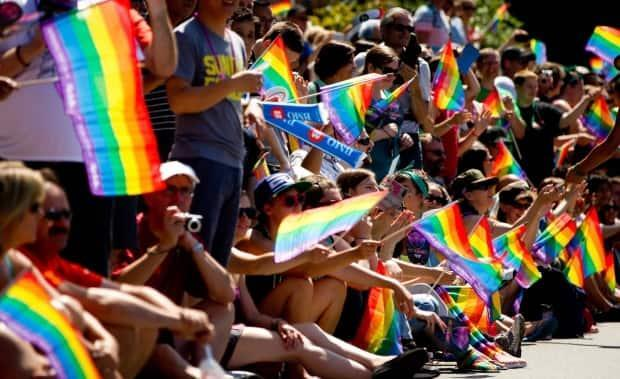 Spectators wave rainbow flags while attending the Vancouver Pride Parade in Vancouver, B.C., on Sunday Aug. 4, 2013. The emblem is often used to market products which is known as rainbow capitalism or rainbow-washing. (Darryl Dyck/Canadian Press - image credit)