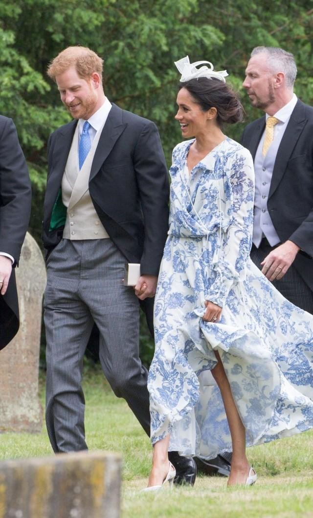 Prince Harry and Meghan Markle attend the wedding of Harry's cousin Celia McCorquodale to George Woodhouse in Stoke Rochford, England on June 16, 2018.