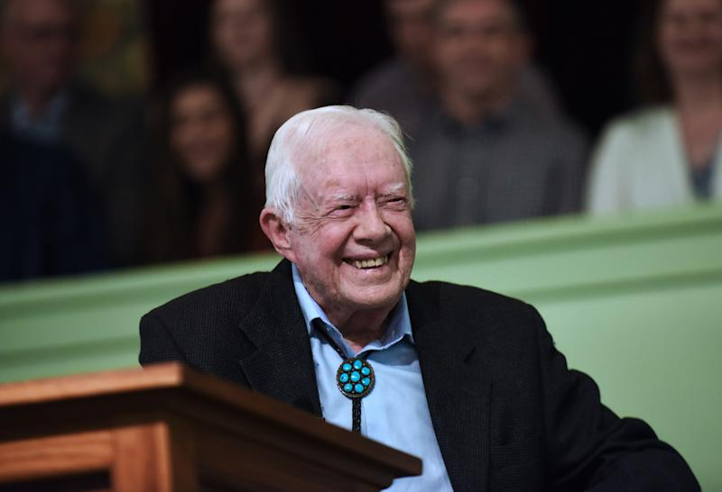 Former U.S. President Jimmy Carter speaks to the congregation at Maranatha Baptist Church before teaching Sunday school in his hometown of Plains, Georgia on April 28, 2019. (Photo: Paul Hennessy/NurPhoto via Getty Images)