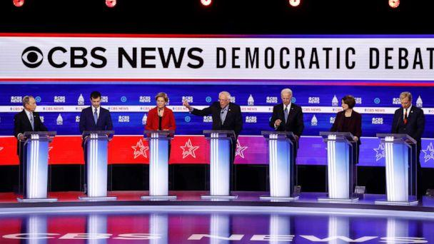 PHOTO: Democratic presidential candidates participate in a Democratic presidential primary debate at the Gaillard Center, Feb. 25, 2020, in Charleston, S.C. (Patrick Semansky/AP)