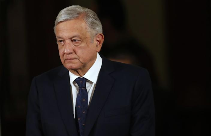 """Mexican President Andrés Manuel López Obrador, shown at his daily news conference Tuesday, had been criticized for his lackadaisical posture on the coronavirus pandemic but now urges people to stay home and to practice physical distancing. <span class=""""copyright"""">(Marco Ugarte / Associated Press)</span>"""
