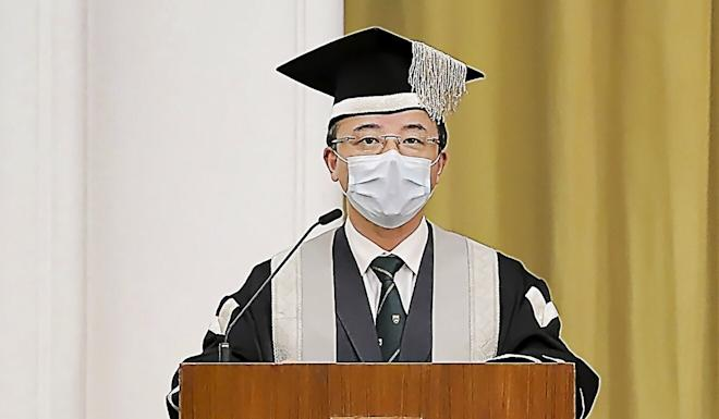 Zhang Xiang addresses new students on Monday. Photo: Handout