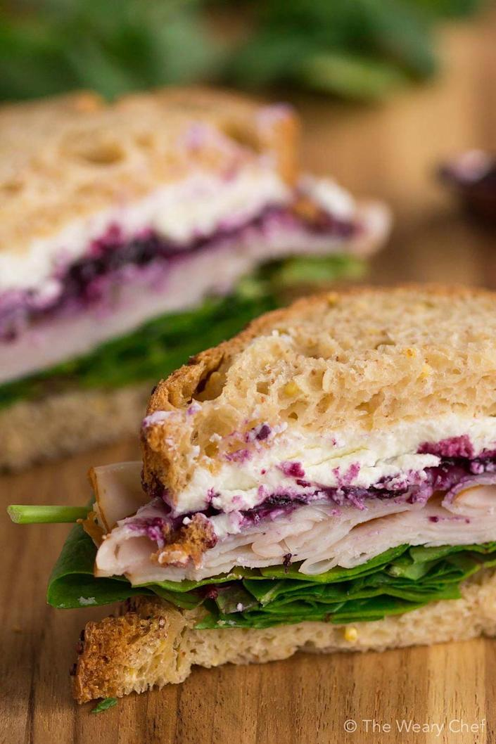"""<p><strong>Huckleberry Sandwich</strong></p><p>Idaho isn't just known for their potatoes -- but huckleberries too. It's an instrumental ingredient at <a href=""""https://www.trilliumboise.com/"""" rel=""""nofollow noopener"""" target=""""_blank"""" data-ylk=""""slk:Trillium"""" class=""""link rapid-noclick-resp"""">Trillium</a> in Boise -- made into a delicious barbecue sauce slathered on a roasted turkey & brie sandwich. </p>"""