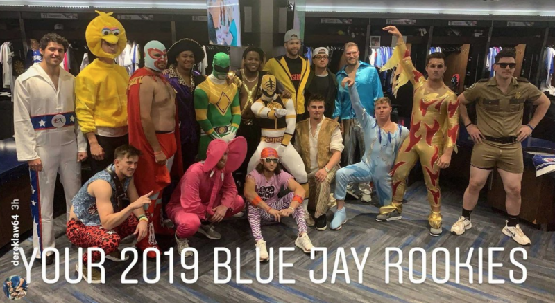Toronto's rookies showed up at the clubhouse looking a little different than usual. (Instagram//dereklaw64)