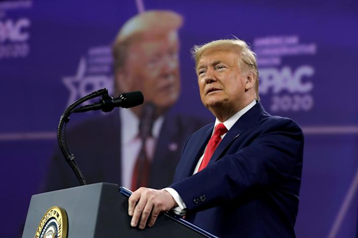 <p>Former US president Donald Trump speaking at CPAC 2020</p> (REUTERS)