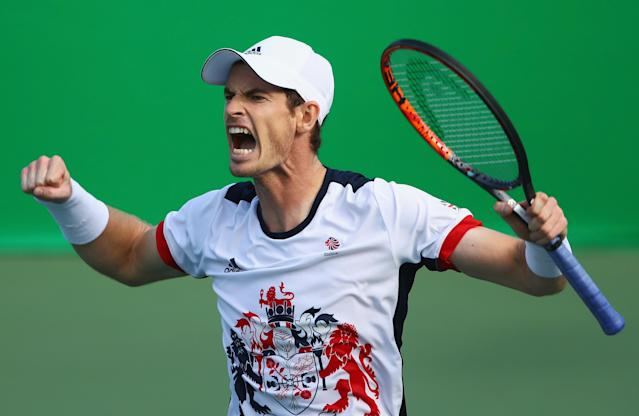 <p>Murray celebrates qualifying for the men's singles gold medal match at the Rio Olympics. (Getty Images) </p>
