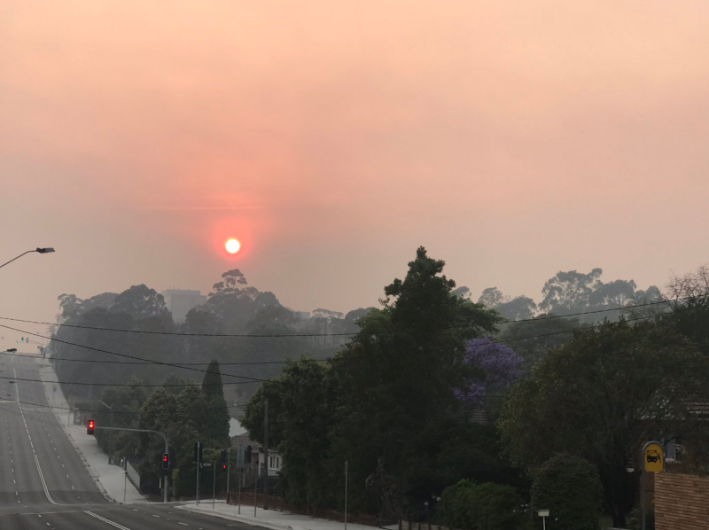 Smoke from bushfires in NSW created an orange sun across Sydney on Friday before a thunderstorm rolled in.
