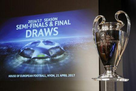 Football Soccer - UEFA Champions League Semi-Final Draw - Nyon, Switzerland - 21/4/17 The UEFA Champions League trophy is pictured before the draw of the semi finals Reuters / Pierre Albouy Livepic