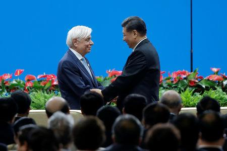 Chinese President Xi Jinping and Greek President Prokopis Pavlopoulos attend the Conference on Dialogue of Asian Civilizations in Beijing, China May 15, 2019. REUTERS/Thomas Peter