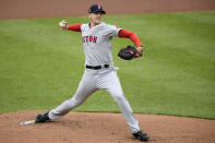 Boston Red Sox starting pitcher Nick Pivetta delivers a pitch during the first inning of a baseball game against the Baltimore Orioles, Sunday, May 9, 2021, in Baltimore. (AP Photo/Nick Wass)