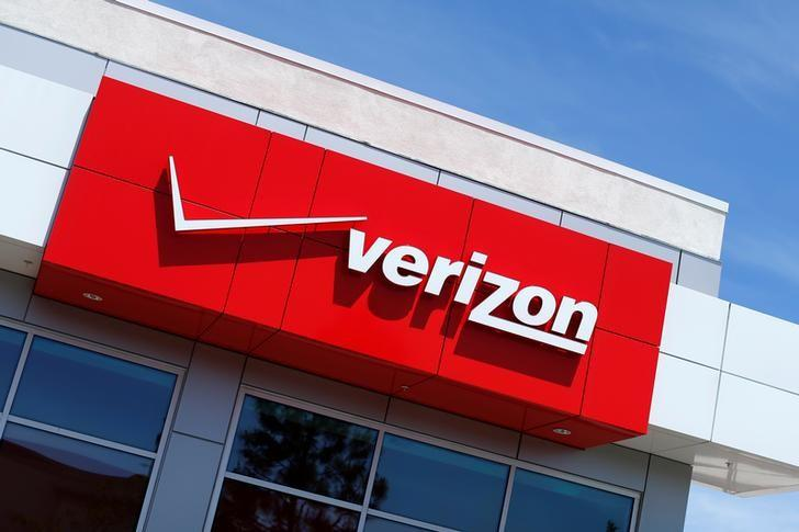 The Verizon logo is seen on one of their retail stores in San Diego, California