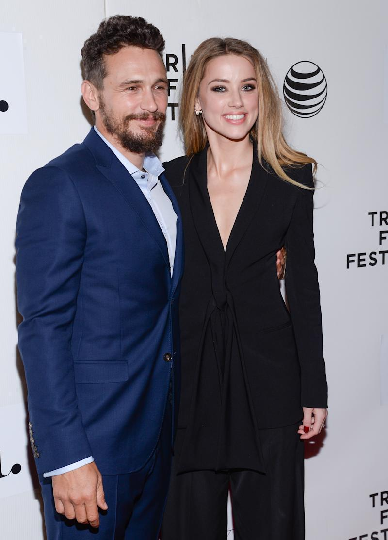 "Actors James Franco, left, and Amber Heard attend the Tribeca Film Festival world premiere of ""The Adderall Diaries"" at BMCC Tribeca Performing Arts Center on Thursday, April 16, 2015, in New York. (Photo by Evan Agostini/Invision/AP)"