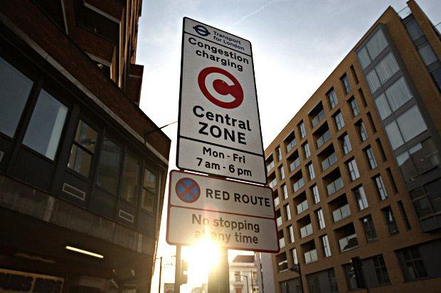 No stopping: The police officer was given a fine on a red route road in Greenwich: Oli Scarff/Getty
