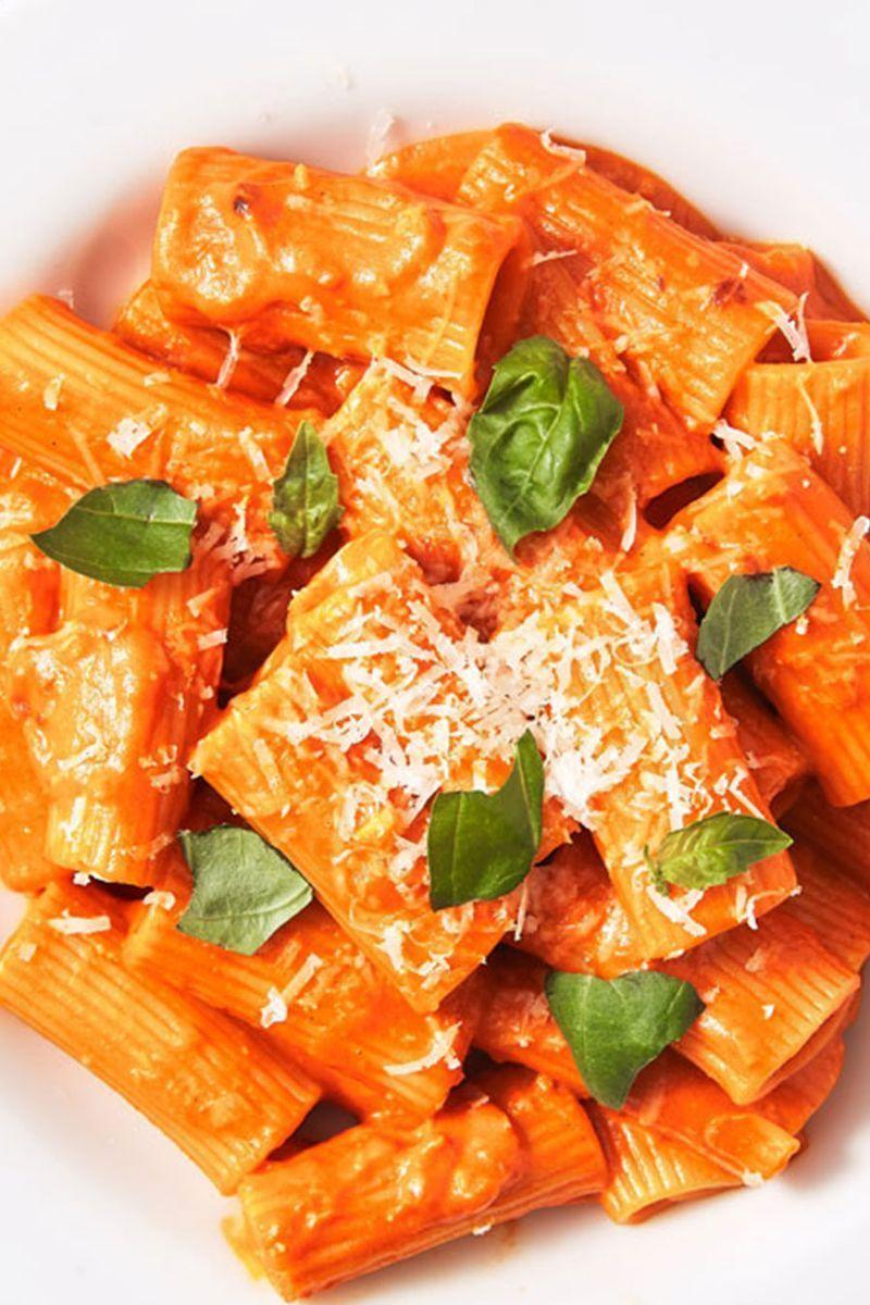 """<p>True story: This is the best vodka sauce any of us in the test kitchen have ever had. It's creamy but bright. The secret: tomato paste. Yep, the lack of canned (crushed, pureed, or whole) tomatoes is no mistake. Tomato paste has a more concentrated flavour, and texture-wise, it makes for a smoother, almost velvety sauce.</p><p>Get the <a href=""""https://www.delish.com/uk/cooking/recipes/a30439232/penne-alla-vodka-recipe/"""" rel=""""nofollow noopener"""" target=""""_blank"""" data-ylk=""""slk:Penne Alla Vodka"""" class=""""link rapid-noclick-resp"""">Penne Alla Vodka</a> recipe.</p>"""
