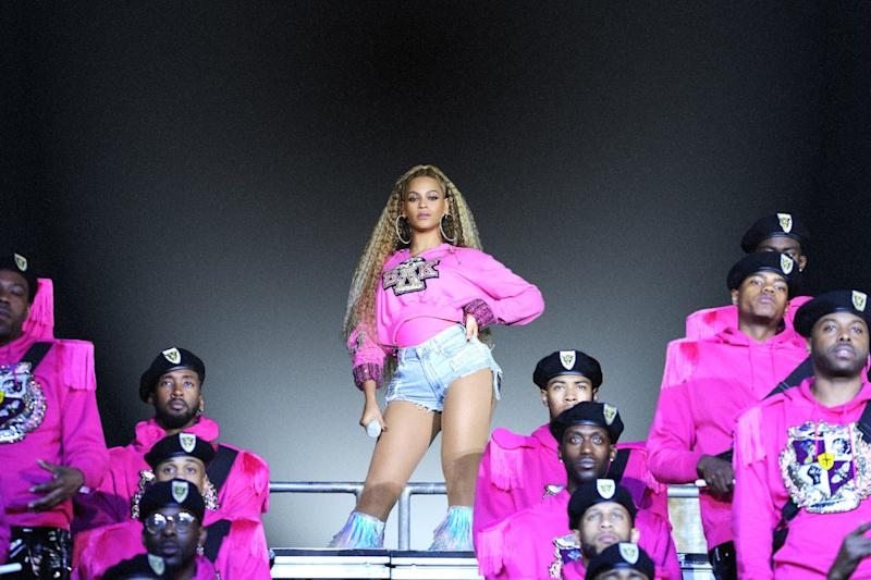 """Beyoncé, center, in a scene from """"Homecoming: A film by Beyoncé."""""""