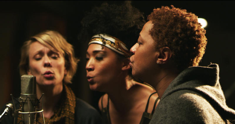 """This undated publicity photo released by the Sundance Institute shows, from left, Jo Lawry, Judith Hill and Lisa Fischer in a scene from the film, """"Twenty Feet From Stardom,"""" included in the US Documentary Competition at the 2013 Sundance Film Festival. (AP Photo/Sundance Institute, Graham Willoughby)"""
