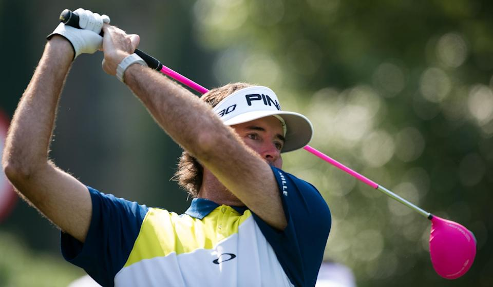 Bubba Watson tees off during the Pro-Am event for the WGC-HSBC Champions golf tournament in Shanghai, on November 5, 2014 (AFP Photo/Johannes Eisele)