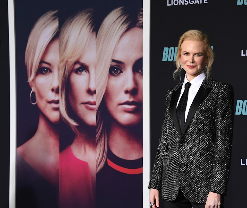"""WESTWOOD, CALIFORNIA - DECEMBER 10: Nicole Kidman arrives at the Special Screening Of Liongate's """"Bombshell"""" at Regency Village Theatre on December 10, 2019 in Westwood, California. (Photo by Steve Granitz/WireImage)"""