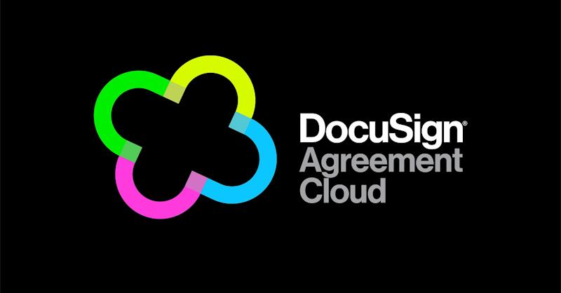 Cloud-shaped logo with multiple colors next to text reading DocuSign Agreement Cloud.