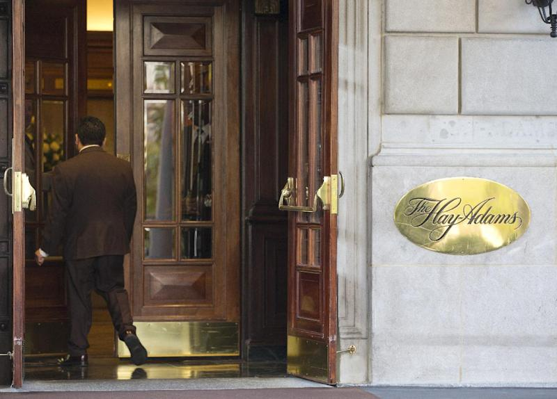 The entrance to the Hay Adams Hotel near the White House in Washington, Thursday, Nov. 14, 2013. Two U.S. Secret Service officers are under investigation and have been removed from President Barack Obama's detail following allegations of misconduct, according to The Washington Post. The investigation stems from an incident during the spring at the Hay-Adams Hotel, an upscale hotel steps away from the White House, involving a senior supervisor responsible for about two dozen agents in the presidential security detail. (AP Photo/ Evan Vucci)