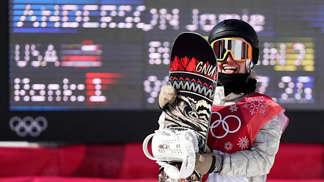 American snowboarder Jamie Anderson was oh so close to winning the first ever gold medal in snowboard big air. But Austria's Anna Gasser hit a nearly perfect trick on her final run to bump Anderson to silver.