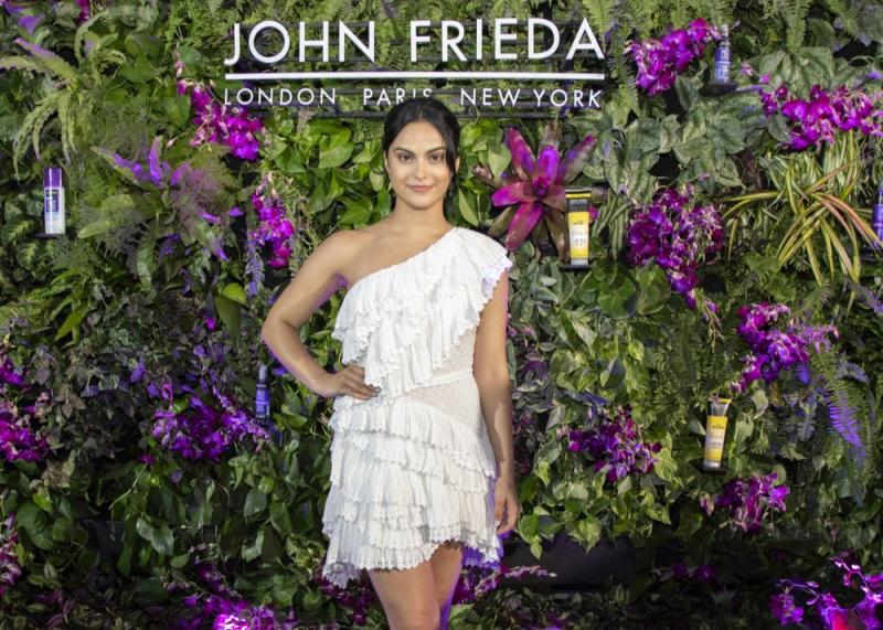 Camila Mendes at the celebration of her partnership with John Frieda Hair Care in Miami, Florida.