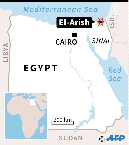 Map of Egypt locating El-Arish in the northern Sinai region, where dozens of people were killed in an attack by gunmen on Friday, November 24. (AFP Photo/Vincent LEFAI, Kun TIAN)