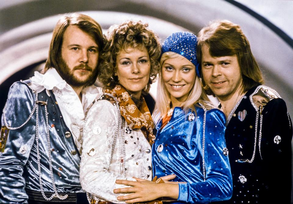 Picture taken in 1974 in Stockholm shows the Swedish pop group Abba with its members (L-R) Benny Andersson, Anni-Frid Lyngstad, Agnetha Faltskog and Bjorn Ulvaeus posing after winning the Swedish branch of the Eurovision Song Contest with their song