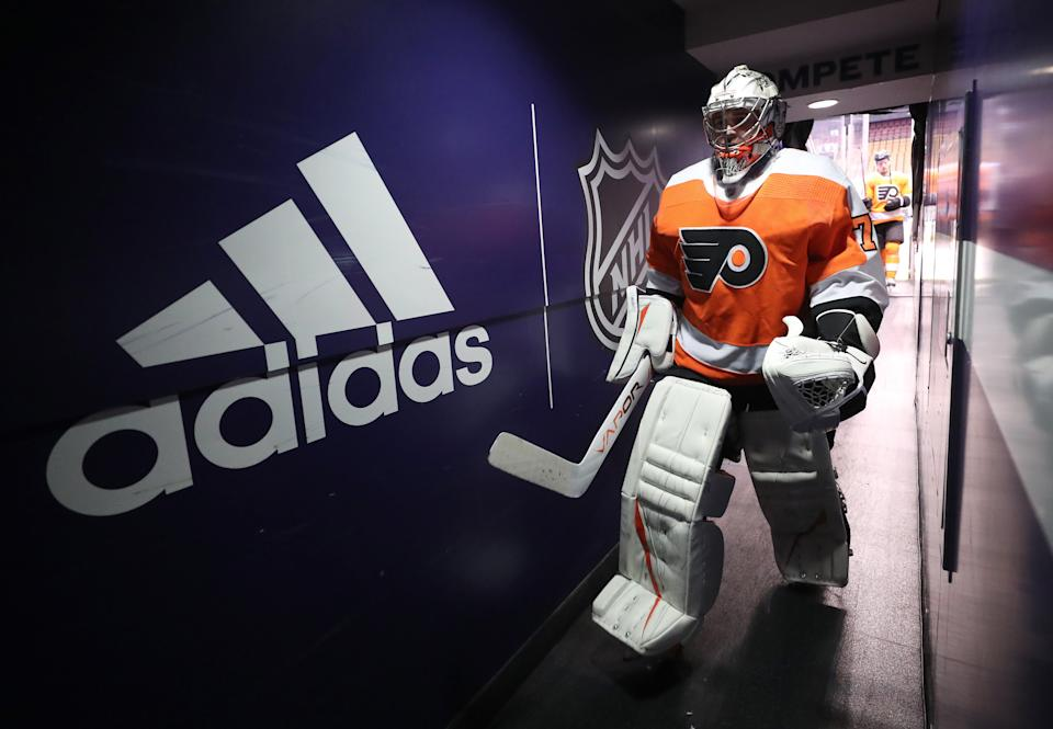 TORONTO, ONTARIO - SEPTEMBER 05: Goaltender Carter Hart #79 of the Philadelphia Flyers walks back to the locker room after warm-up before Game Seven of the Eastern Conference Second Round of the 2020 NHL Stanley Cup Playoff between the New York Islanders and the Philadelphia Flyers at Scotiabank Arena on September 05, 2020 in Toronto, Ontario. (Photo by Chase Agnello-Dean/NHLI via Getty Images)