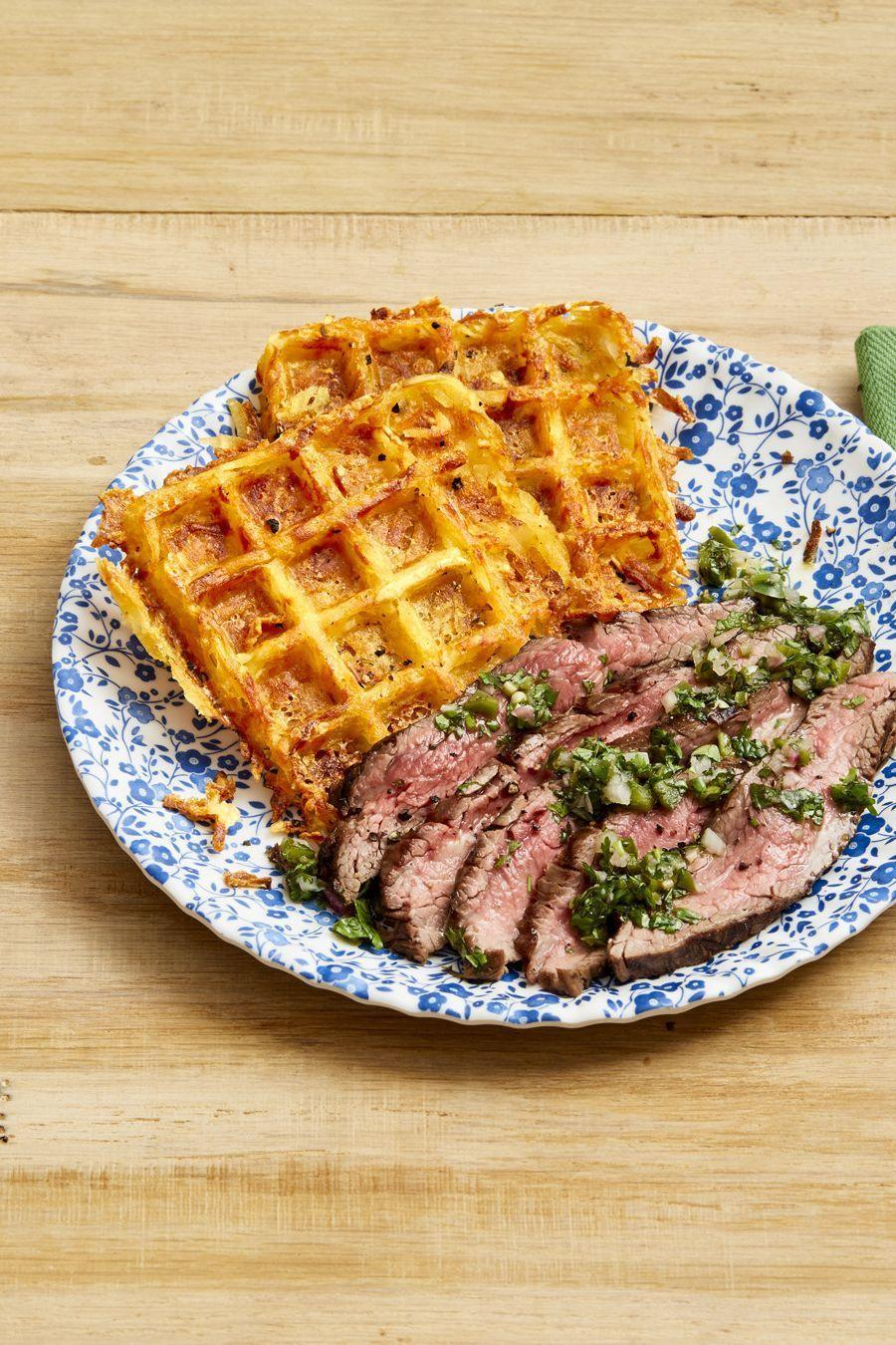 """<p>Crispy hash browns pair perfectly with juicy flank steak. Finish things off with a garlicky sauce loaded with fresh herbs—basil, mint, cilantro, and parsley. </p><p><strong><a href=""""https://www.thepioneerwoman.com/food-cooking/recipes/a32475948/flank-steak-with-cheesy-waffle-hash-browns-recipe/"""" rel=""""nofollow noopener"""" target=""""_blank"""" data-ylk=""""slk:Get the recipe"""" class=""""link rapid-noclick-resp"""">Get the recipe</a>.</strong></p><p><a class=""""link rapid-noclick-resp"""" href=""""https://go.redirectingat.com?id=74968X1596630&url=https%3A%2F%2Fwww.walmart.com%2Fbrowse%2Fhome%2Fthe-pioneer-woman-dishes%2F4044_623679_639999_7373615&sref=https%3A%2F%2Fwww.thepioneerwoman.com%2Ffood-cooking%2Fmeals-menus%2Fg35191871%2Fsteak-dinner-recipes%2F"""" rel=""""nofollow noopener"""" target=""""_blank"""" data-ylk=""""slk:SHOP DISHES"""">SHOP DISHES</a></p>"""